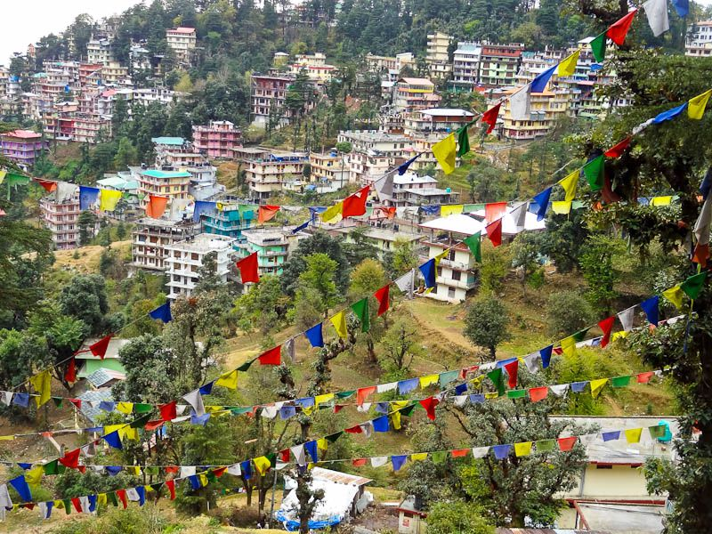 Buddhist-Flags-Against-Dharamsala-