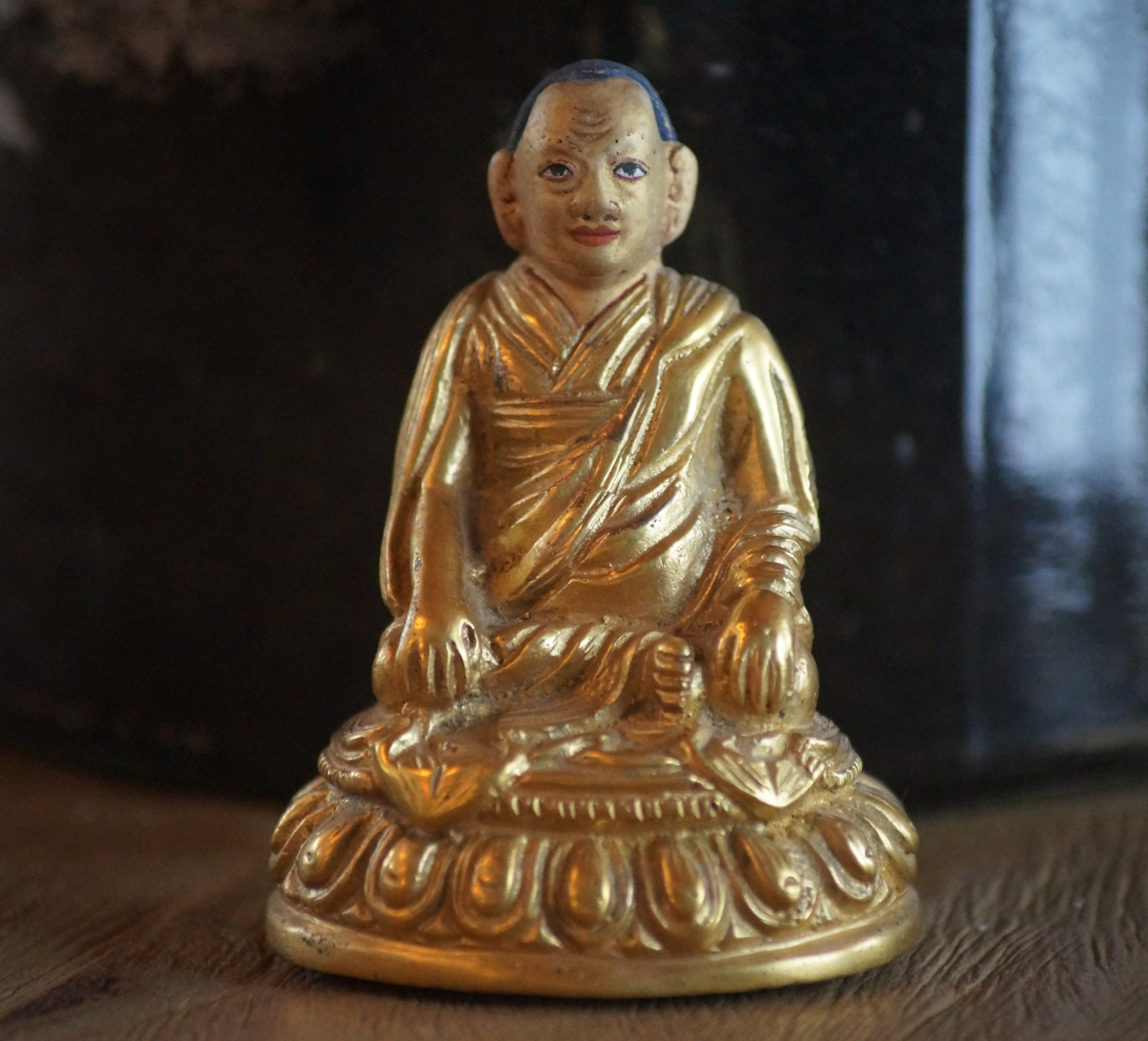 Longchenpa's likeness, reproduced by Nyoshul Khen Rinpoche and covered in gold.